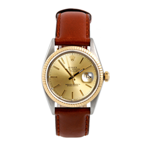 Men's TwoTone Datejust on Leather Strap