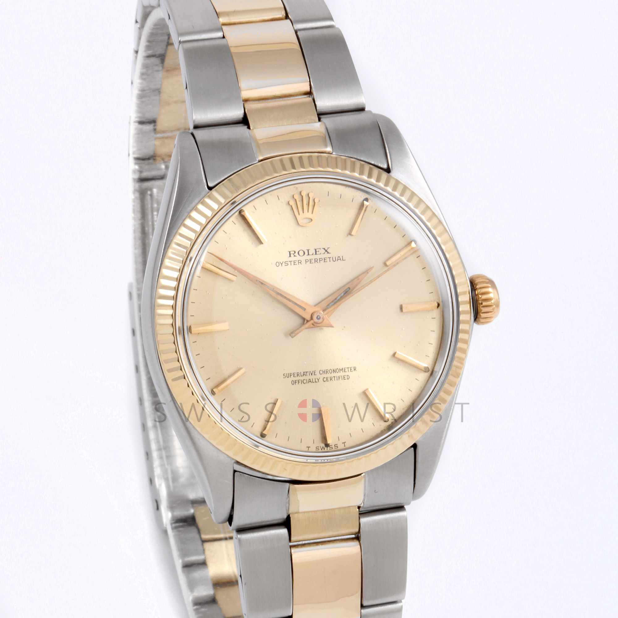 Rolex Oyster Perpetual 34mm No Date 1002 Yellow Gold & Stainless Steel w/ Champagne Stick Dial & Fluted Bezel on Oyster Bracelet - Men's Pre-Owned