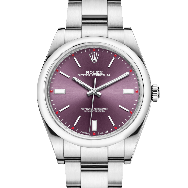 Rolex Oyster Perpetual 114300 39mm Stainless Steel w/ Red Grape Dial on an Oyster Bracelet - UNUSED