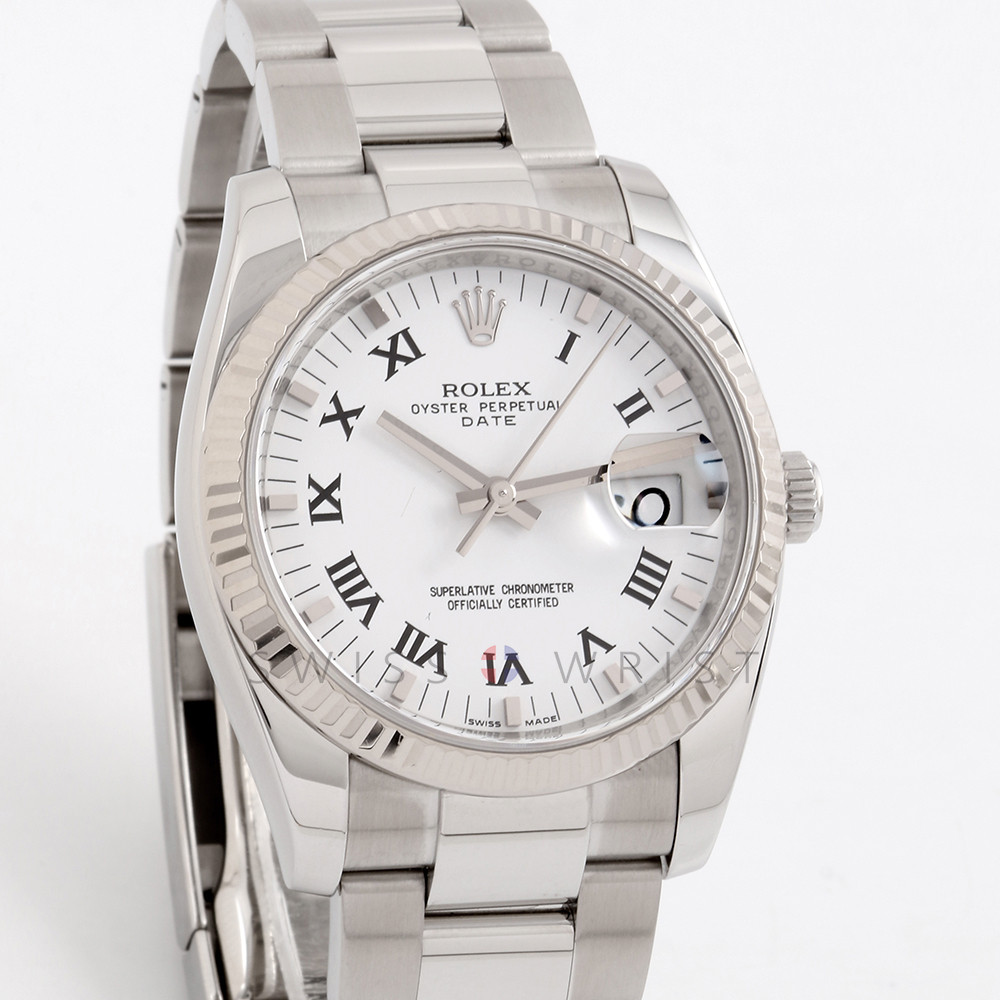 Rolex Date 34 mm 115234 Stainless Steel w/ White Roman Dial & Fluted Bezel with Oyster Bracelet - Men's Pre-Owned Watch