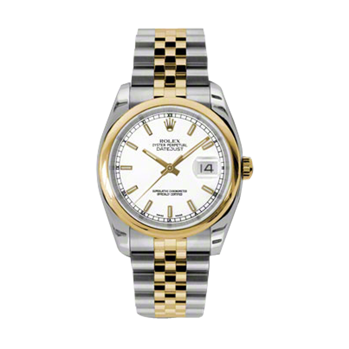 Pre-Owned Mens New Style Datejust Watch - 18K Two Tone Yellow Gold  White Index Dial - Domed/ Smooth Bezel - Jubilee Bracelet 36 MM 116203