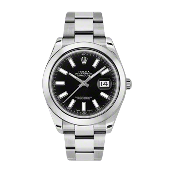 Pre-Owned Rolex Mens New Style Datejust II Watch - Stainless Steel  Black Index Dial - Domed/ Smooth Bezel - Oyster Bracelet 41 MM 116300