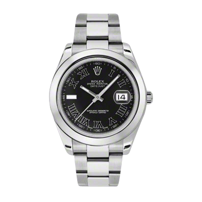 Pre-Owned Rolex Mens New Style Datejust II Watch - Stainless Steel  Black Roman and Index Dial - Domed/ Smooth Bezel - Oyster Bracelet 41 MM 116300