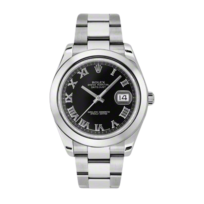 Pre-Owned Rolex Mens New Style Datejust II Watch - Stainless Steel  Black Roman  Dial - Domed/ Smooth Bezel - Oyster Bracelet 41 MM 116300