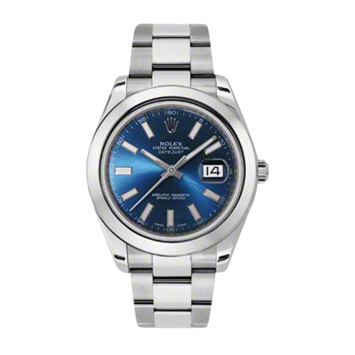 Pre-Owned Rolex Mens New Style Datejust II Watch - Stainless Steel  Blue Index Dial - Domed/ Smooth Bezel - Oyster Bracelet 41 MM 116300