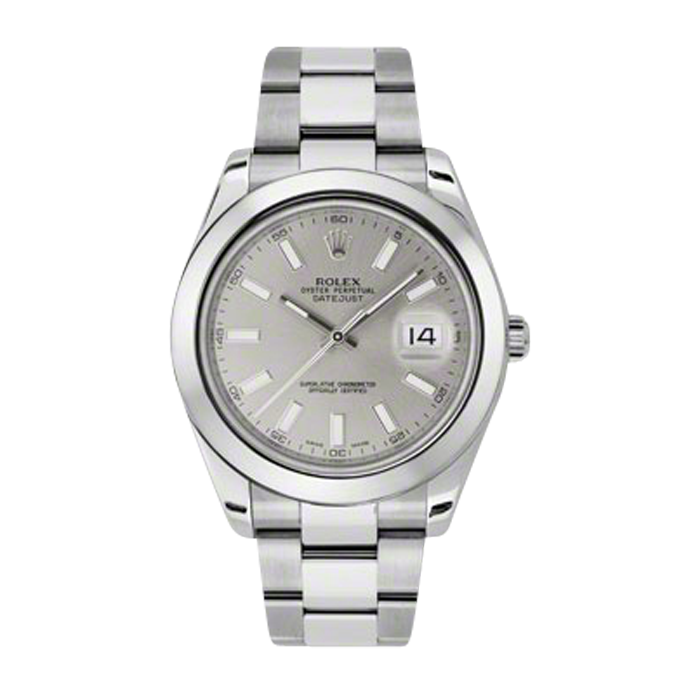 Pre-Owned Rolex Mens New Style Datejust II Watch - Stainless Steel Silver Index Dial - Domed/ Smooth Bezel - Oyster Bracelet 41 MM 116300