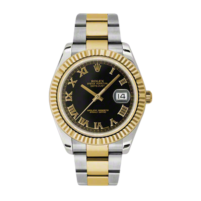 Pre-Owned Rolex Mens New Style Datejust II Watch - 18K Two Tone Yellow Gold  Black Roman  Dial - 18K Fluted Bezel - Oyster Bracelet 41 MM 116333