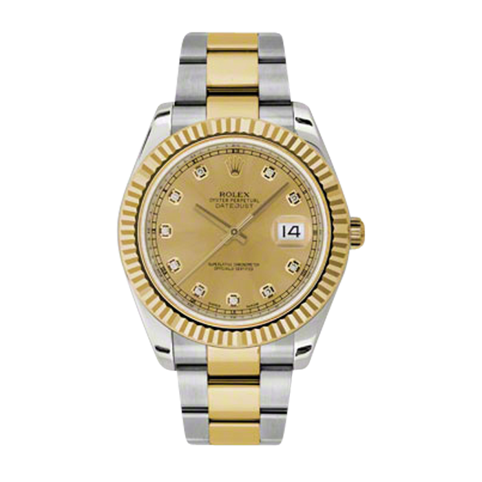 Pre-Owned Rolex Mens New Style Datejust II Watch - 18K Two Tone Yellow Gold  Champagne Diamond Dial - 18K Fluted Bezel - Oyster Bracelet 41 MM 116333