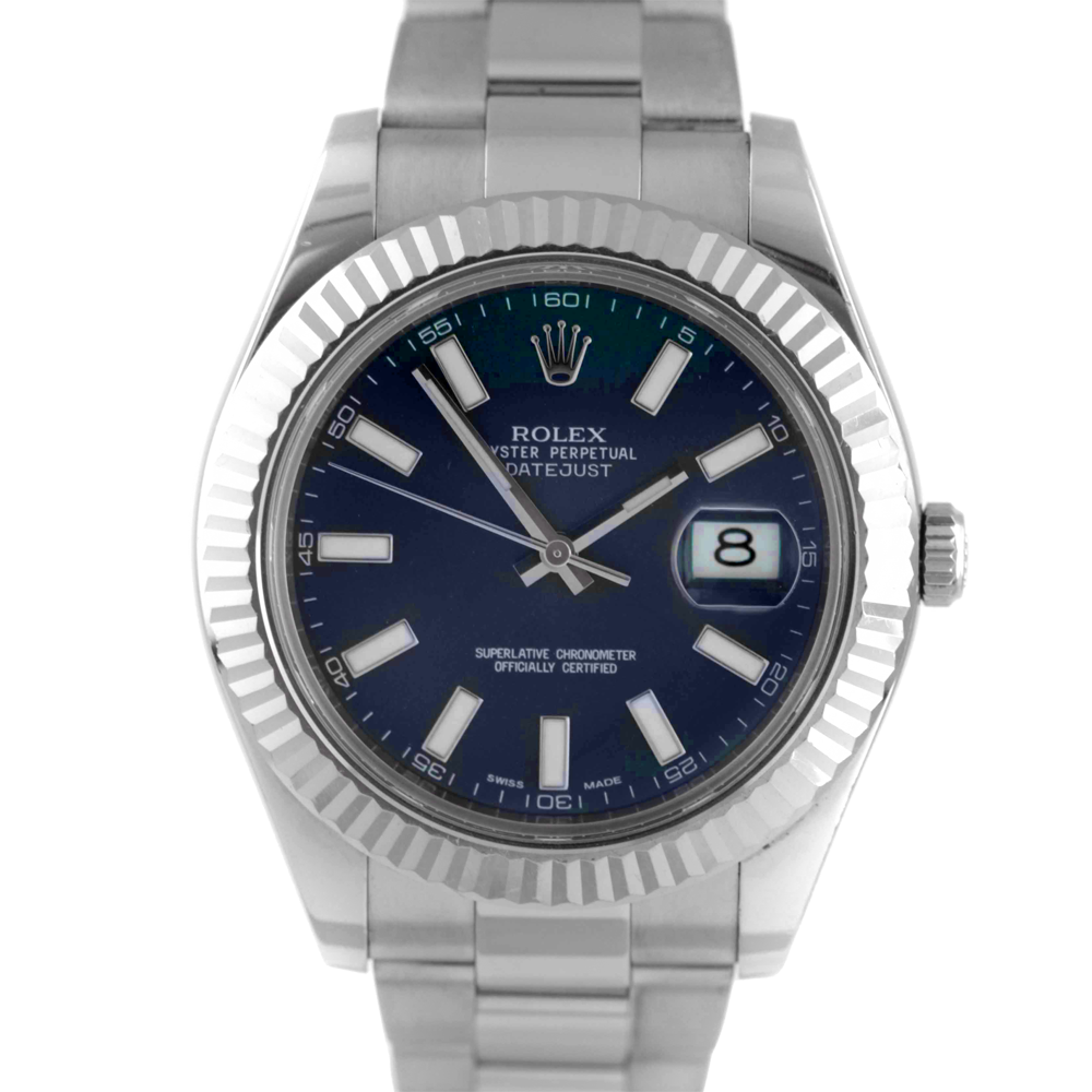 Pre-owned Rolex Mens Stainless Steel Large Datejust II Watch - with Blue Stick Dial on Oyster Band - Model 116334
