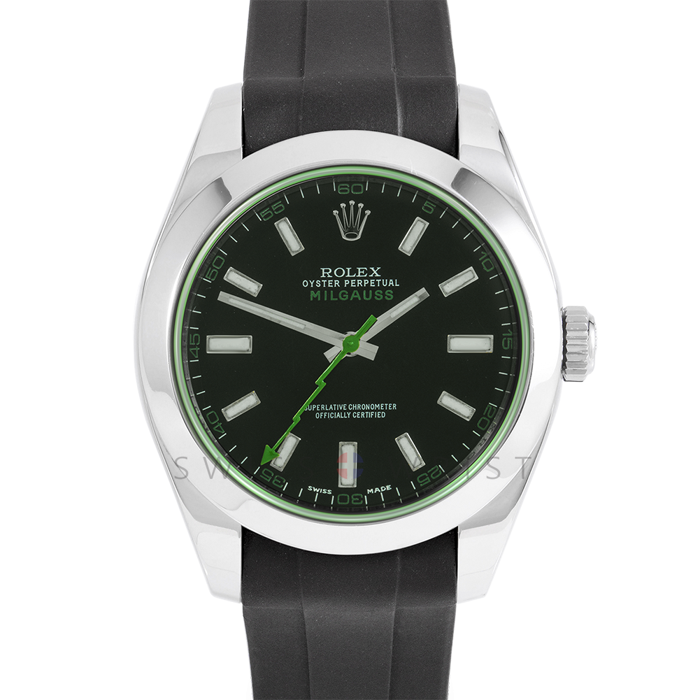 Rolex Milgauss 116400 Stainless Steel, Custom Black Dial, Green Markers	& Green Crystal with Smooth Bezel on a Rubber Strap - Pre-Owned Watch