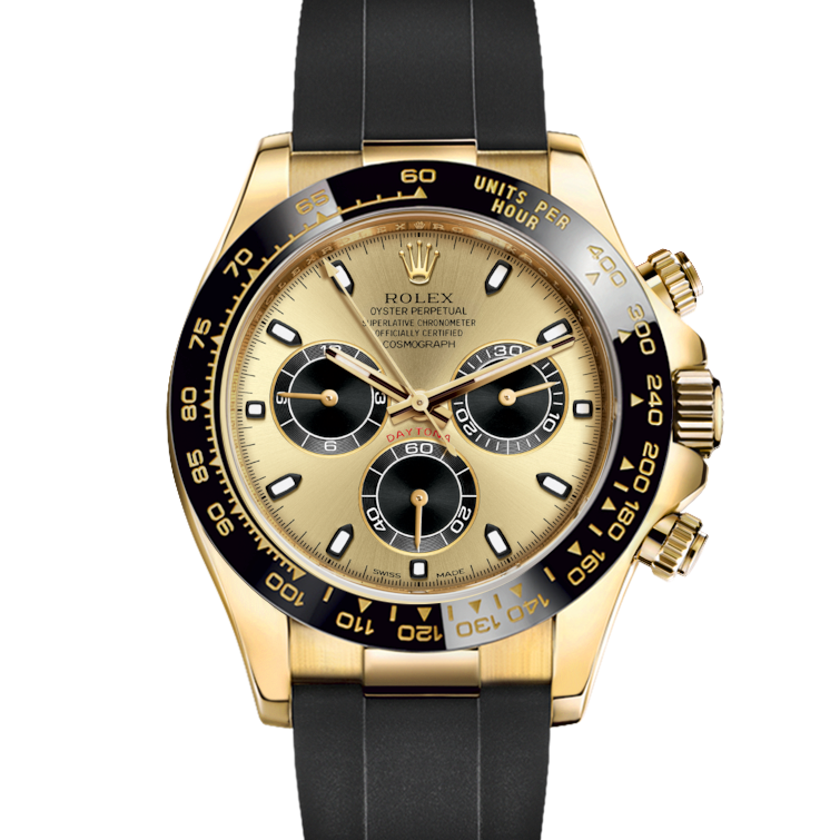 Rolex Daytona 116518 Champagne & Black Dial - 18K Yellow Gold - Oysterflex Rubber Strap - UNUSED