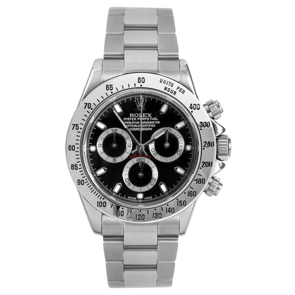 Rolex Mens Daytona 116520 40MM - Stainless Steel - Black Dial - With Bezel Engraving - Pre-owned