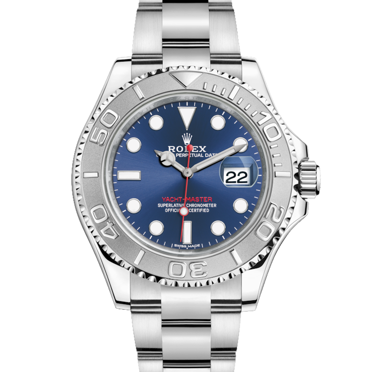 Rolex Yacht-Master 116622 Blue Dial - 40mm Platinum & Stainless Steel Watch - Oyster Bracelet - UNUSED
