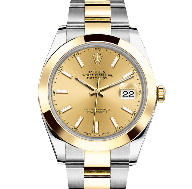 Rolex Datejust II 41 126303 18K Yellow Gold & Steel Champagne Index Dial & Smooth Bezel On Oyster Bracelet - Unused Men's Watch