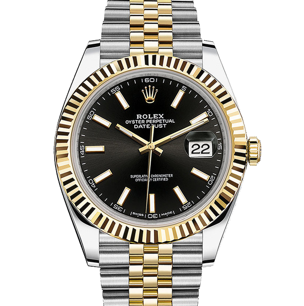 Rolex Datejust II 126333 18K Yellow Gold & Stainless Steel - Black Index Dial - Fluted Bezel - Jubilee Bracelet - New Style 41mm - UNUSED