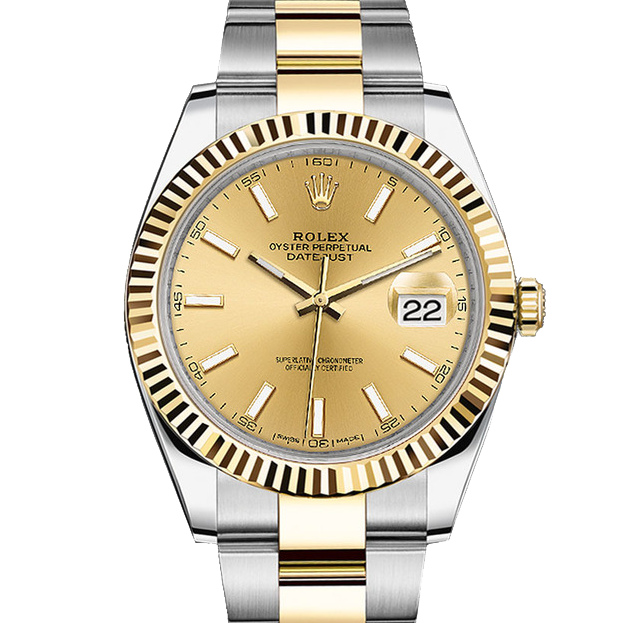 Rolex Datejust II 41 126333 18K Yellow Gold & Steel Champagne Index Dial & Fluted Bezel On Oyster Bracelet - Unused Men's Watch