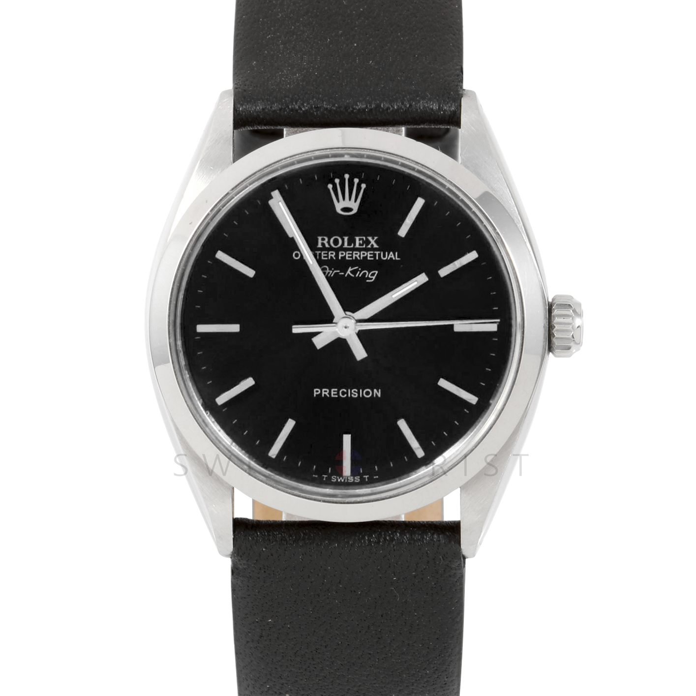 Rolex Airking - Black Stick Dial - Stainless Steel - Smooth Bezel On A Black Leather Strap - Pre-Owned