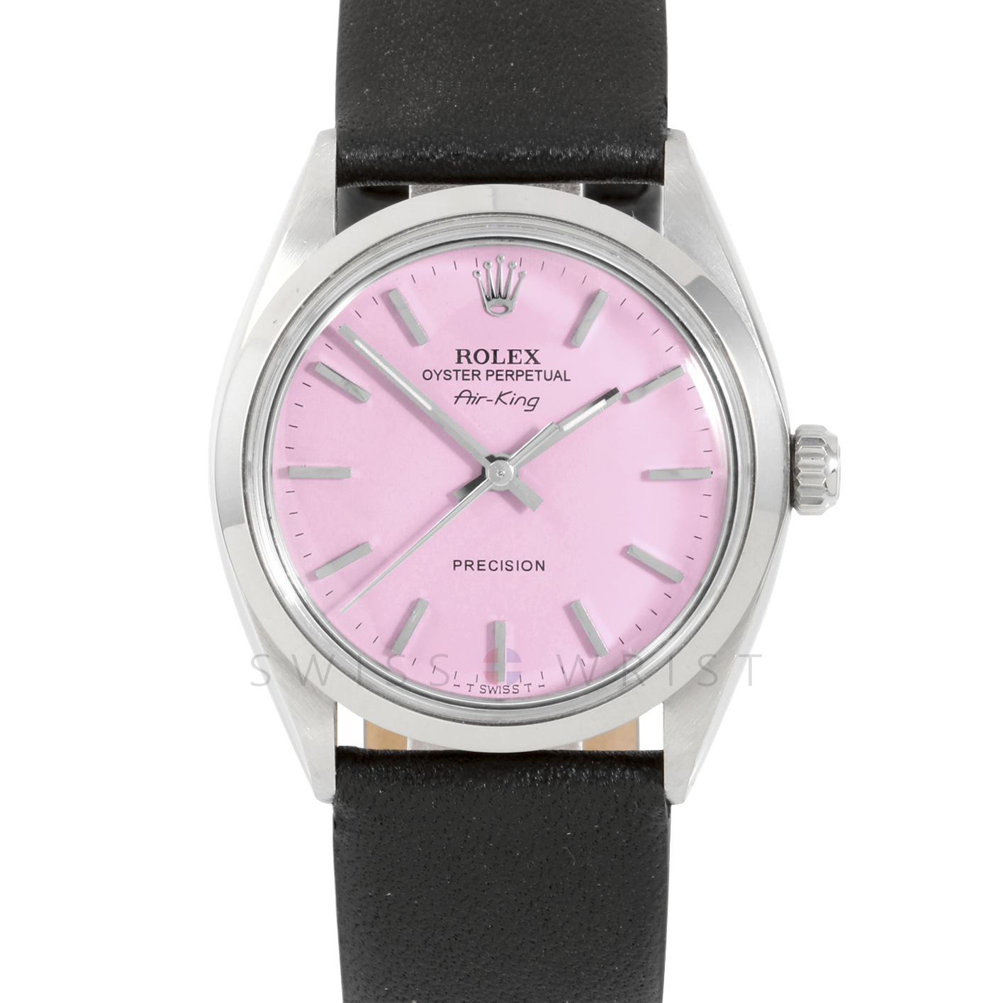 Rolex Airking - Pink Stick Dial - Stainless Steel - Smooth Bezel On A Black Leather Strap - Pre-Owned