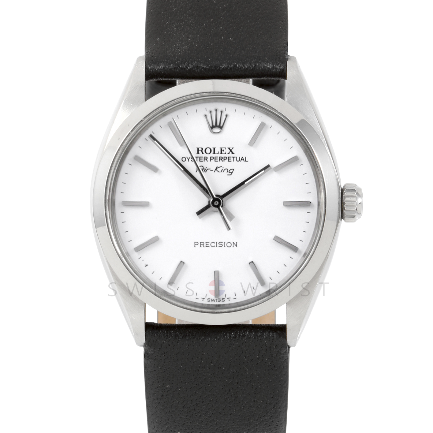 Rolex Airking - White Stick Dial - Stainless Steel - Smooth Bezel On A Black Leather Strap - Pre-Owned