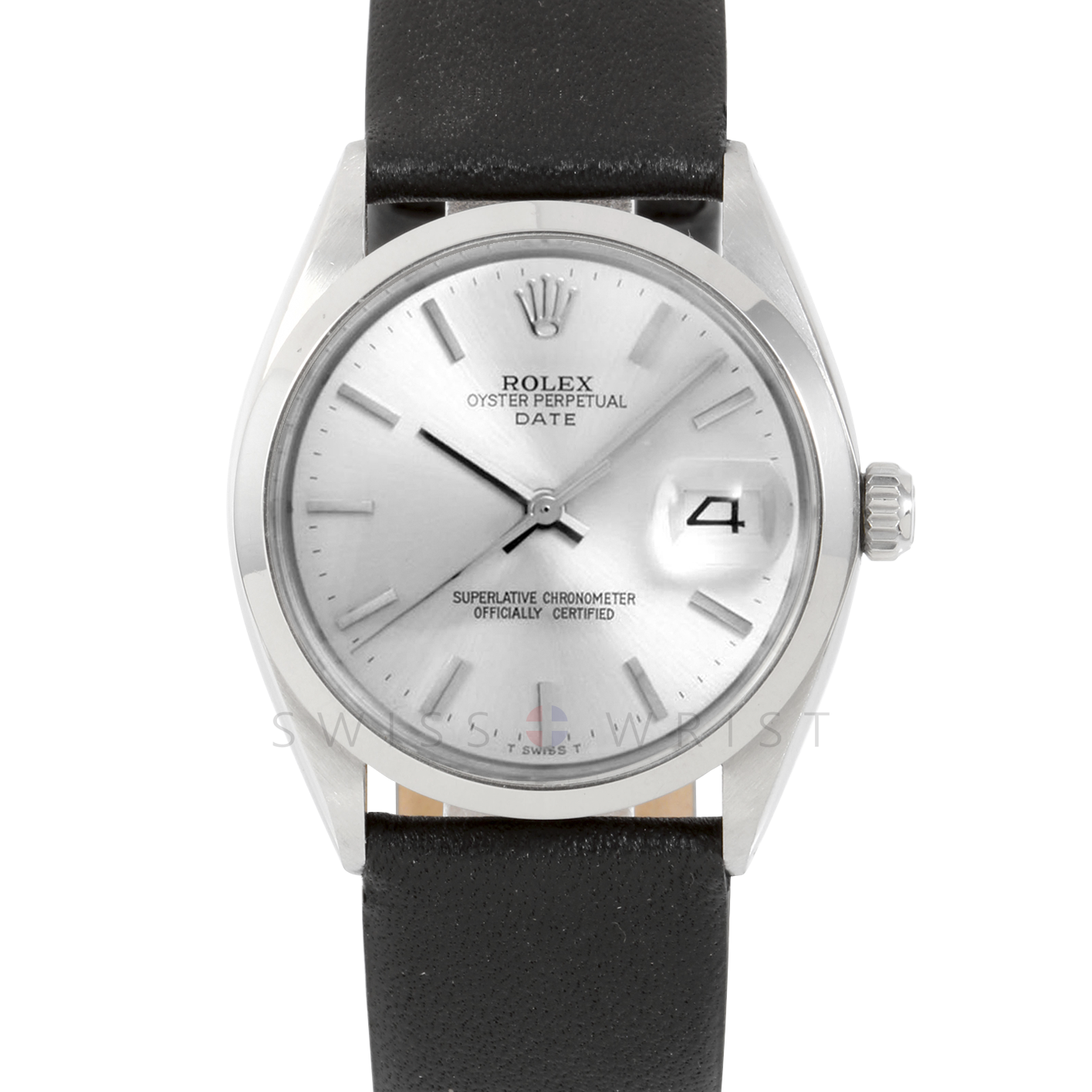 Rolex 34mm Date Model - Silver Stick Dial - Stainless Steel - Smooth Bezel On A Black Leather Strap - Pre-Owned
