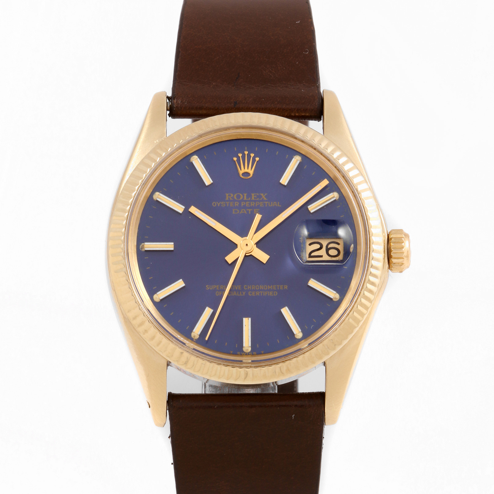 Rolex 1503 Mens Oyster Perpetual Date 34 mm Yellow Gold w/ Blue Stick Dial & Fluted Bezel with Brown Leather Strap - Pre-Owned