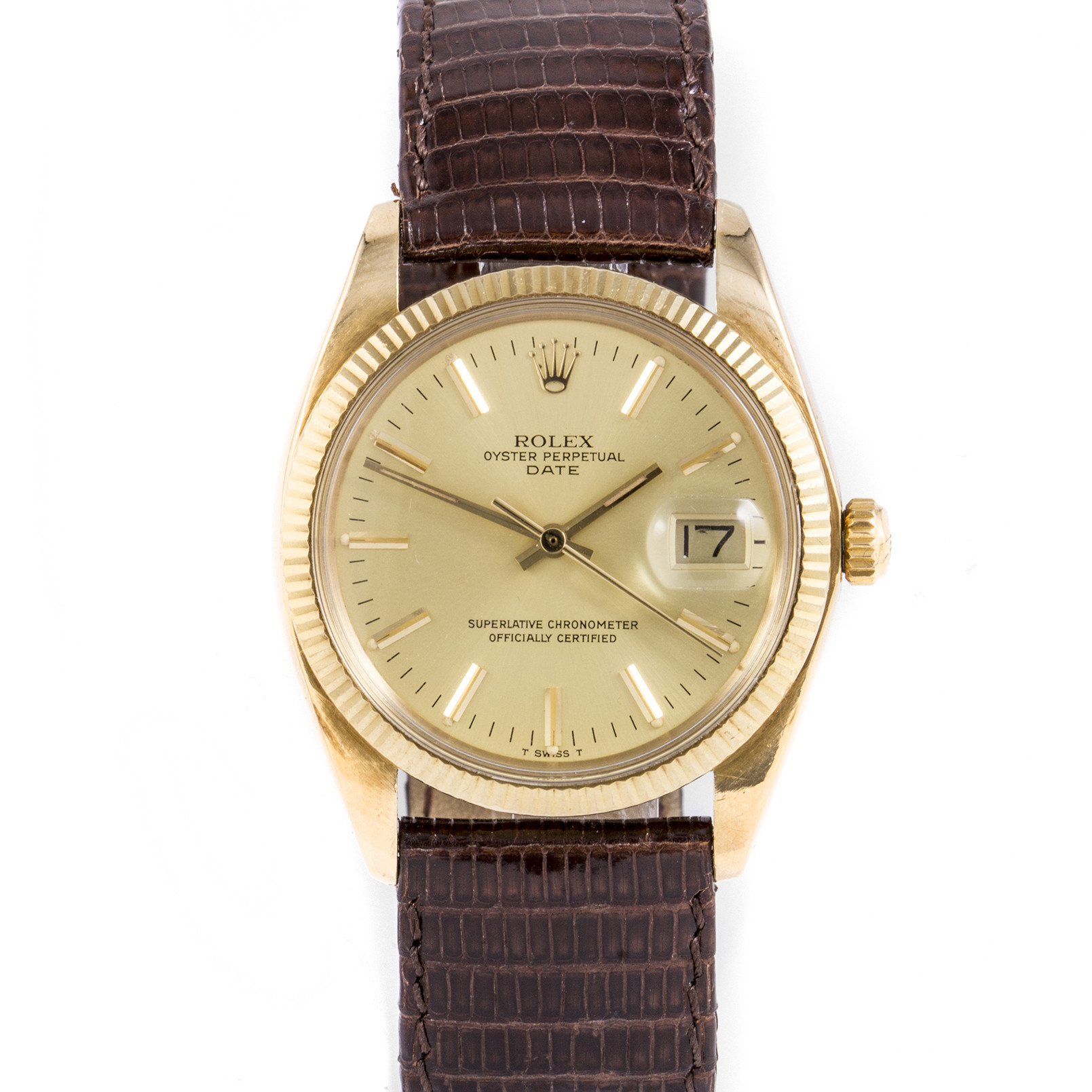 Rolex 1503 Mens Oyster Perpetual Date 34mm Yellow Gold w/ Champagne Stick Dial and Fluted Bezel with Brown Leather Strap - Pre-Owned