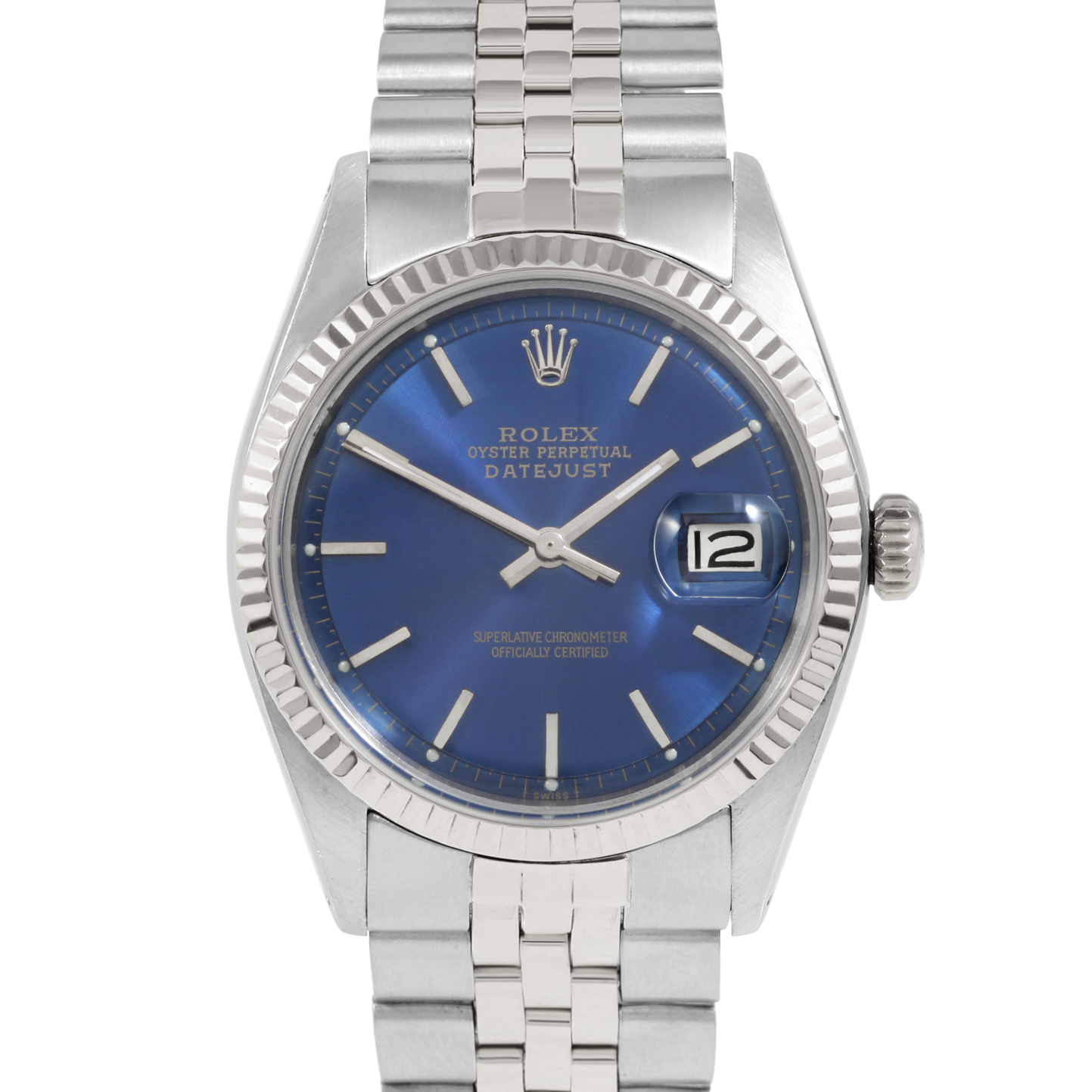 Rolex Vintage Datejust 1601 Blue Stick Dial - Stainless Steel - Fluted Bezel On A Jubilee Band - Pre-Owned