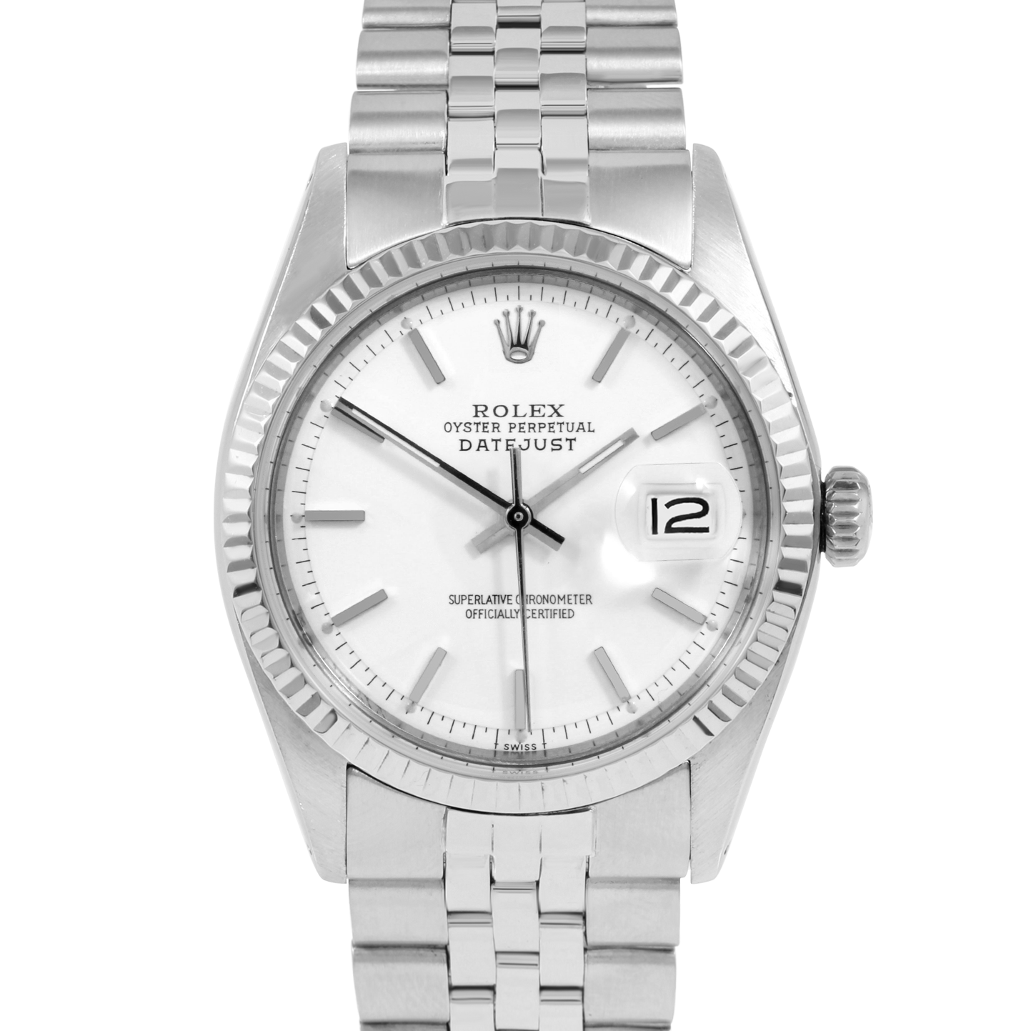 Rolex Vintage Datejust 1601 White Stick Dial - Stainless Steel - Fluted Bezel On A Jubilee Band - Pre-Owned