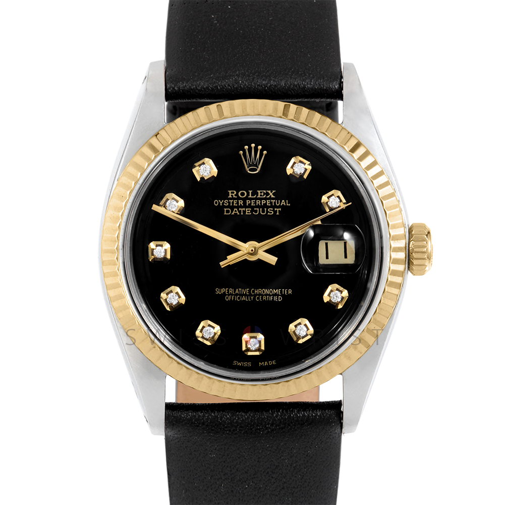 Rolex Datejust 36 mm 1601 Yellow Gold & Stainless Steel, Custom Black Diamond, Fluted Bezel On A Black Leather Strap - Men's Pre-Owned Watch