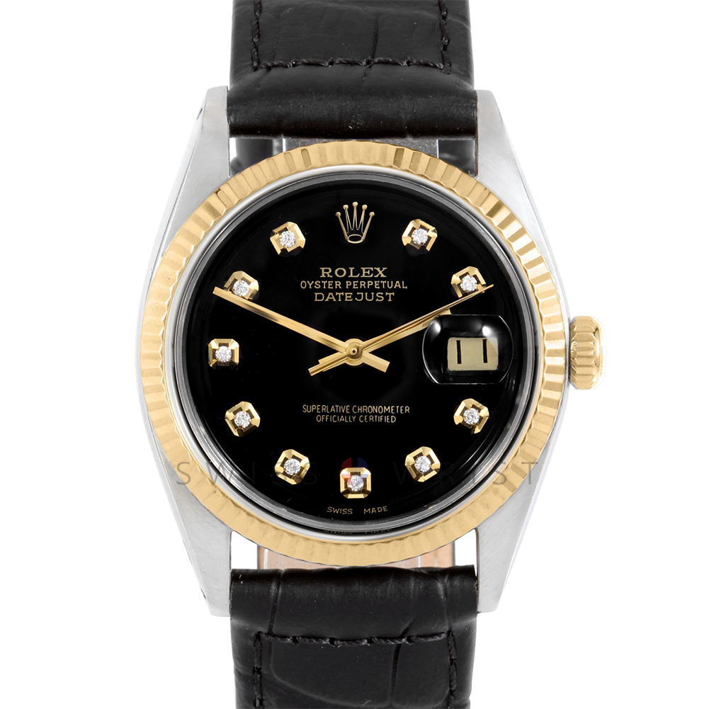 Rolex Datejust 36 mm 1601 Yellow Gold & Stainless Steel, Custom Black Diamond, Fluted Bezel On A Black Alligator Leather Strap - Men's Pre-Owned Watch