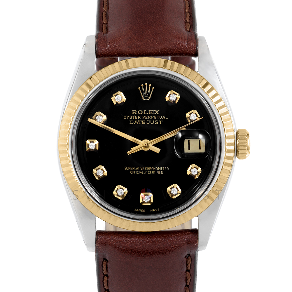 Rolex Datejust 36 mm 1601 Yellow Gold & Stainless Steel, Custom Black Diamond, Fluted Bezel On A Brown Leather Strap - Men's Pre-Owned Watch