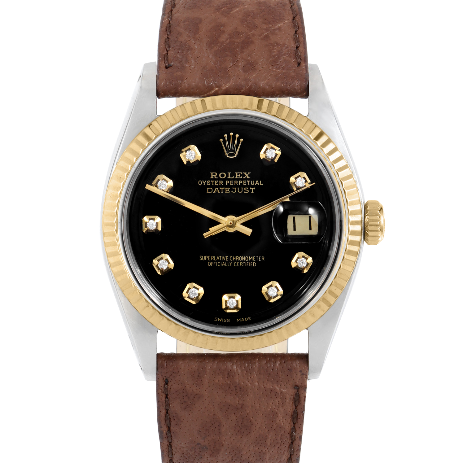 Rolex Datejust 36 1601 Yellow Gold & Stainless Steel, Custom Black Diamond, Fluted Bezel On A Brown Buffalo Leather Strap - Men's Pre-Owned Watch