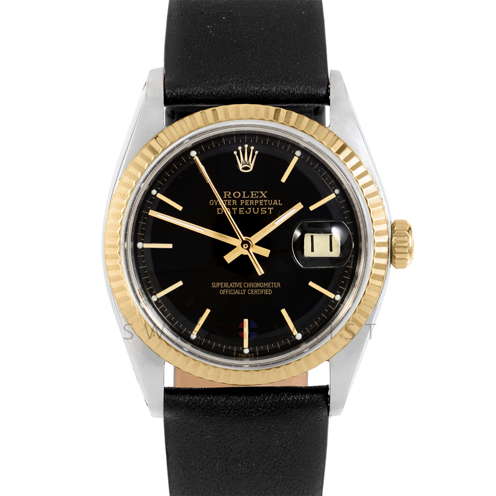 Rolex Datejust 1601 Black Stick Dial 18k Yellow Gold & Stainless Steel - Fluted Bezel On A Black Leather Strap - Pre-Owned
