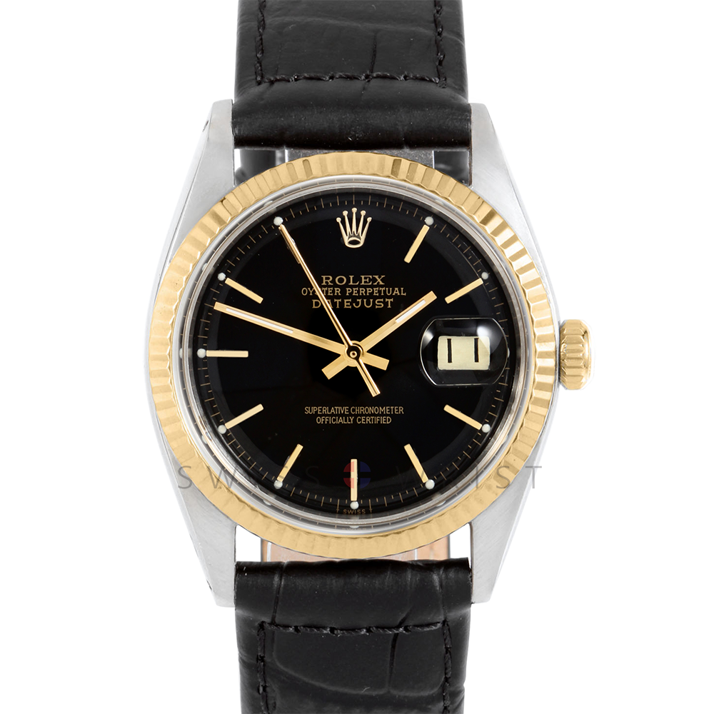Rolex Datejust 1601 Black Stick Dial 18k Yellow Gold & Stainless Steel - Fluted Bezel On A Black Alligator Leather Strap - Pre-Owned
