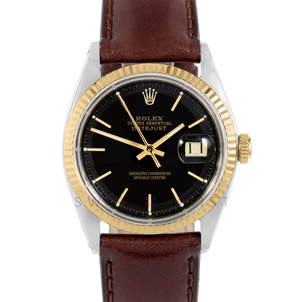 Rolex Datejust 1601 Black Stick Dial 18k Yellow Gold & Stainless Steel - Fluted Bezel On A Brown Leather Strap - Pre-Owned