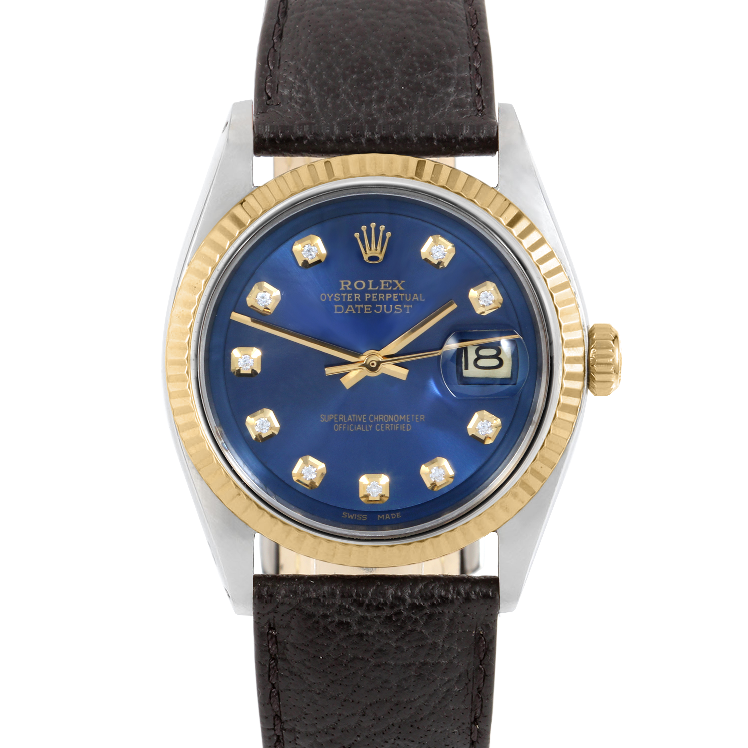Rolex Datejust 36 1601 Yellow Gold & Stainless Steel, Custom Blue Diamond, Fluted Bezel On A Black Buffalo Leather Strap - Men's Pre-Owned Watch