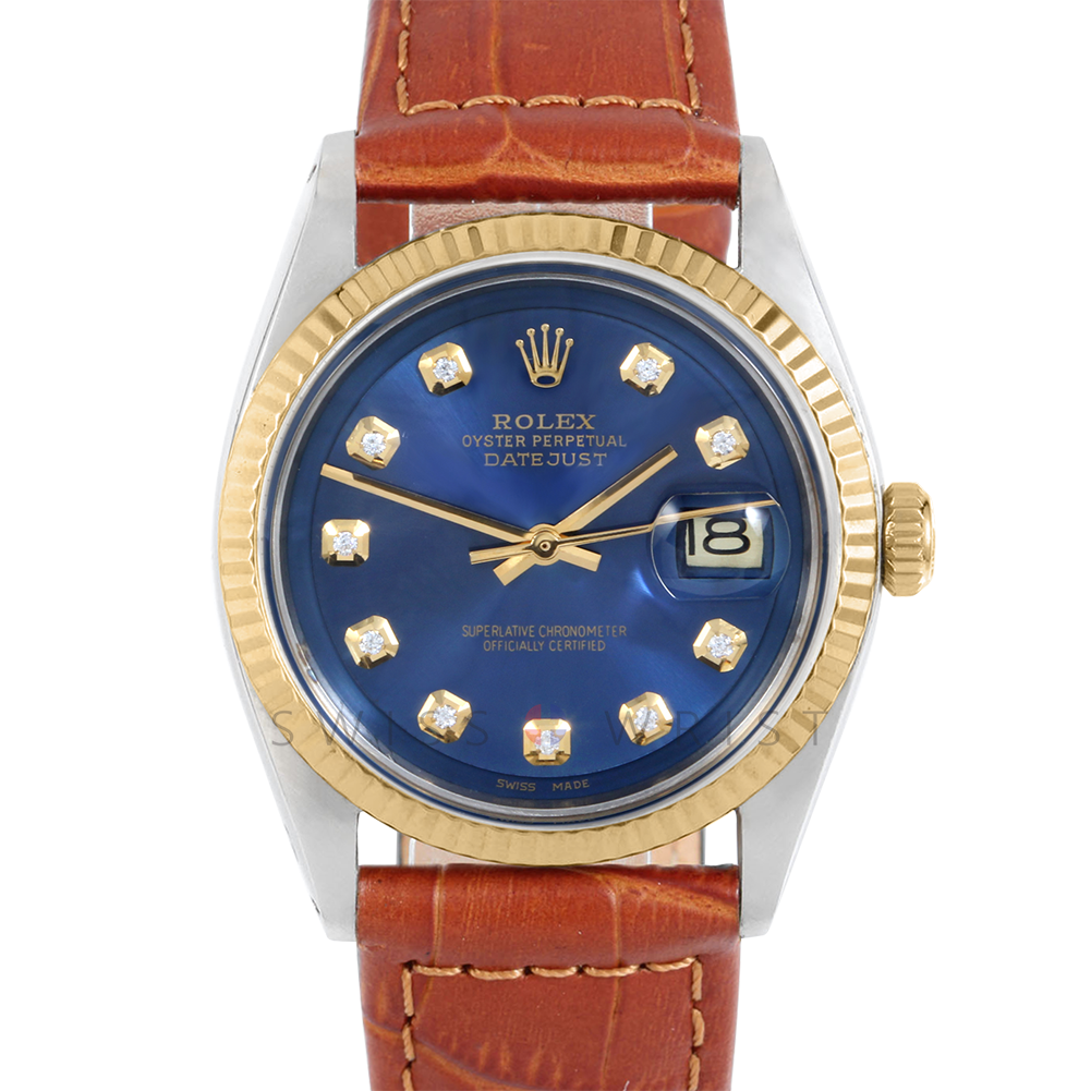 Rolex Datejust 36 mm 1601 Yellow Gold & Stainless Steel, Custom Blue Diamond, Fluted Bezel On A Brown Alligator Leather Strap - Men's Pre-Owned Watch