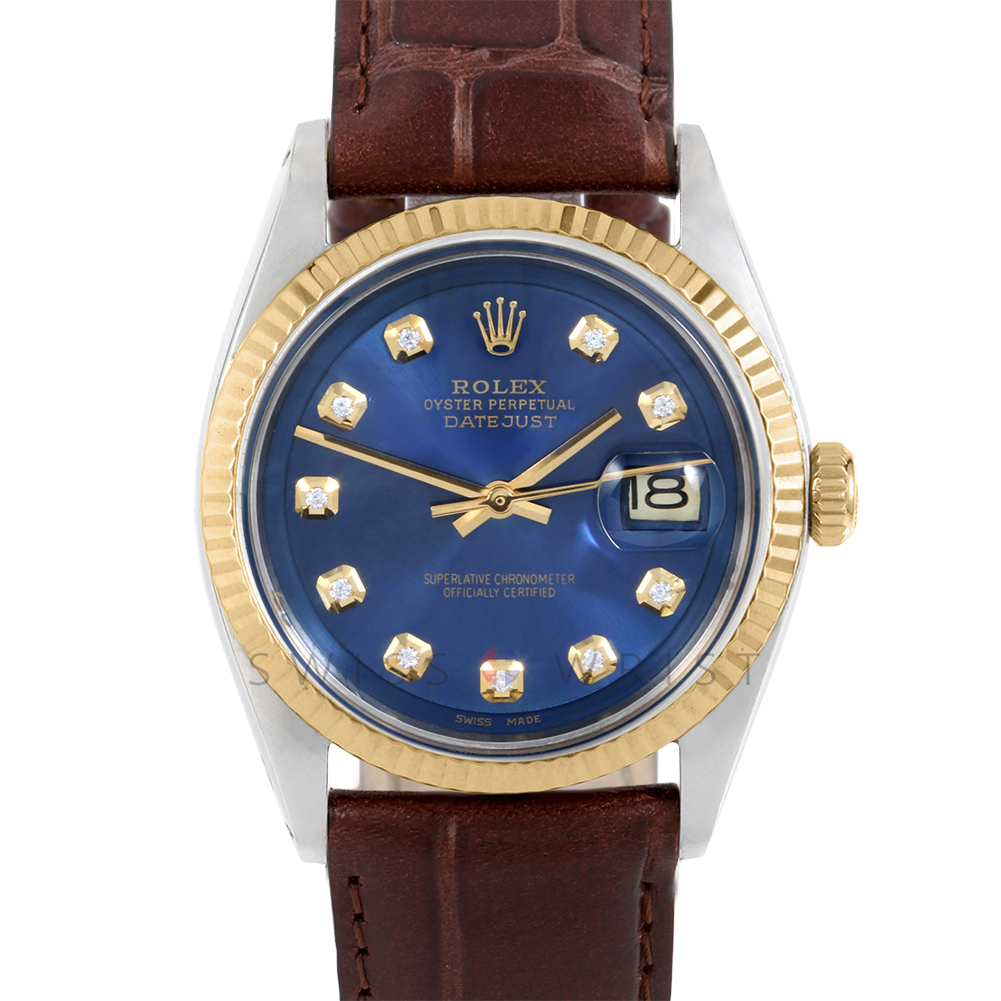 Rolex Datejust 36 1601 Yellow Gold & Steel, Custom Blue Diamond, Fluted Bezel On A Dark Brown Alligator Leather Strap Men's Pre-Owned