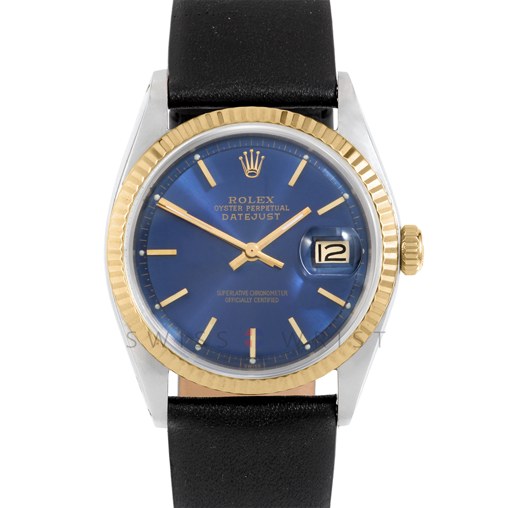 Rolex Datejust 1601 Blue Stick Dial 18k Yellow Gold & Stainless Steel - Fluted Bezel On A Black Leather Strap - Pre-Owned