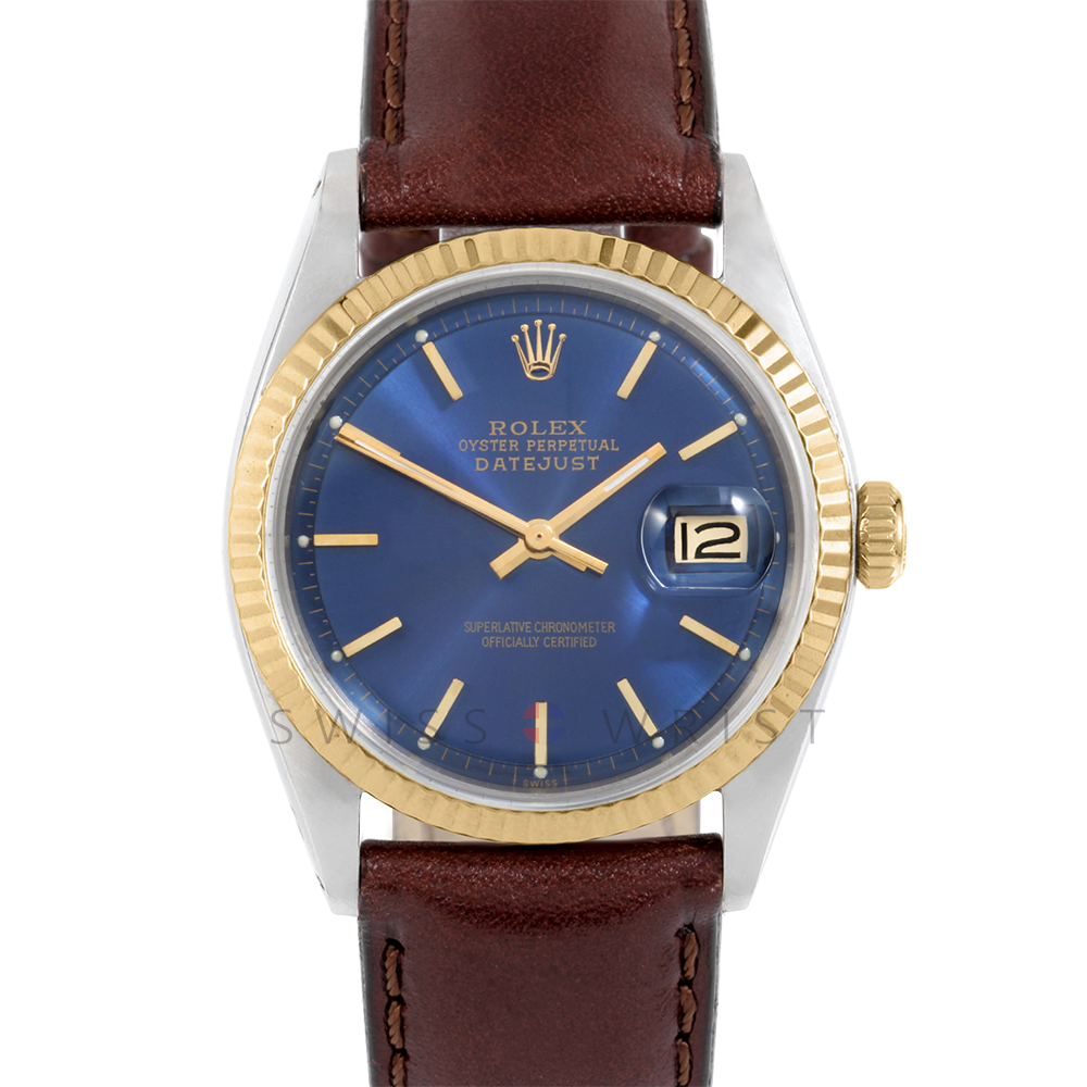 Rolex Datejust 1601 Blue Stick Dial 18k Yellow Gold & Stainless Steel - Fluted Bezel On A Brown Leather Strap - Pre-Owned