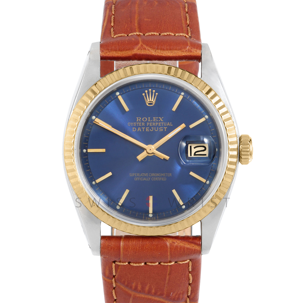 Rolex Datejust 36 1601 Yellow Gold & Steel, Refinished Blue Stick, Fluted Bezel On A Brown Alligator Leather Strap Men's Pre-OwnedWatch