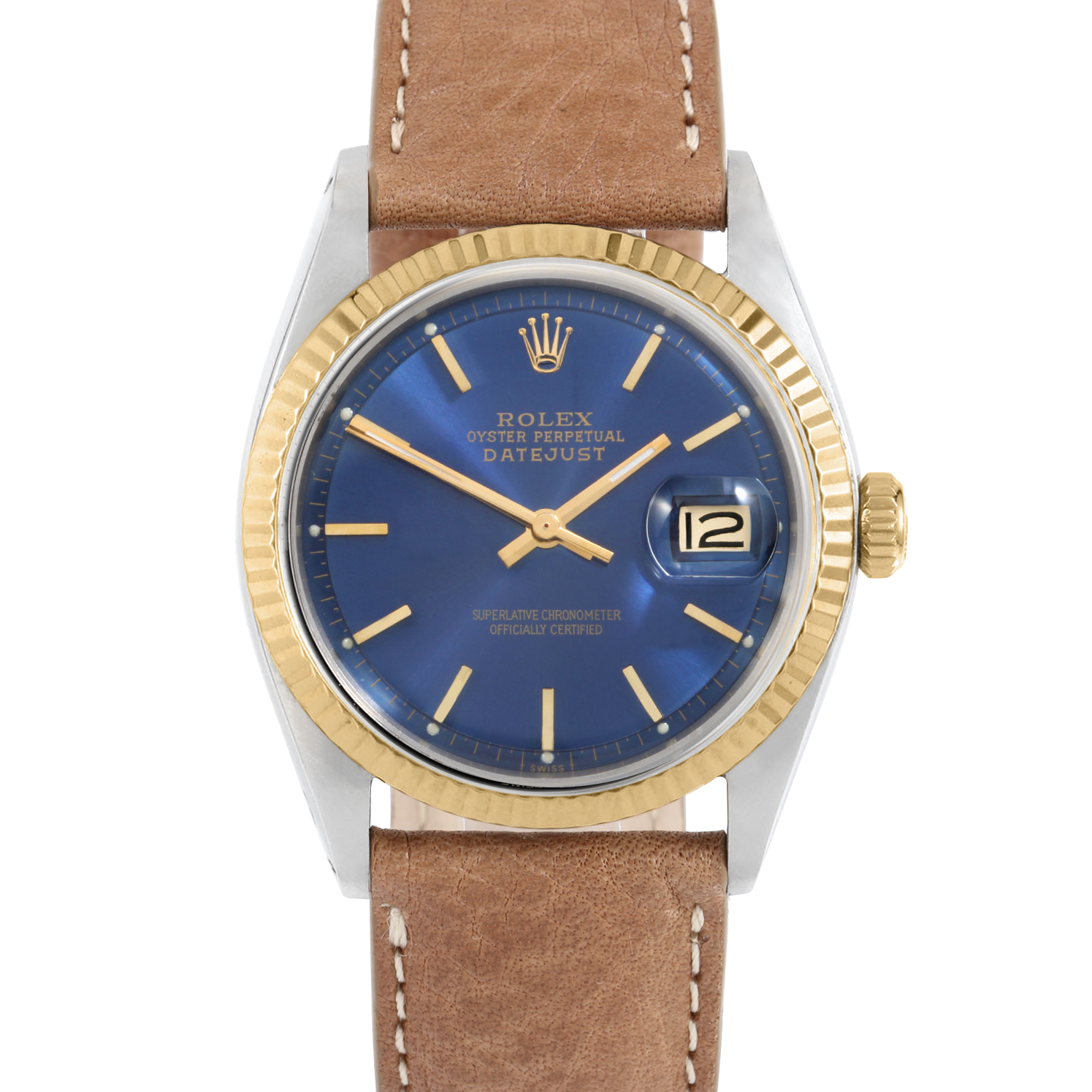 Rolex Datejust 36 1601 Yellow Gold & Stainless Steel, Refinished Blue Stick, Fluted Bezel On A Tan Texas Calf Leather Strap - Men's Pre-Owned Watch
