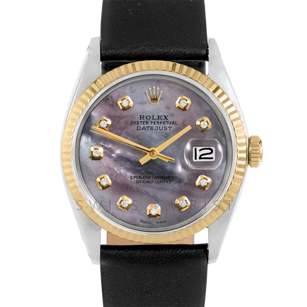 Rolex Datejust 36 1601 Yellow Gold & Steel, Custom Black Mother of Pearl Diamond, Fluted Bezel On A Black Leather Strap - Men's Pre-Owned Watch