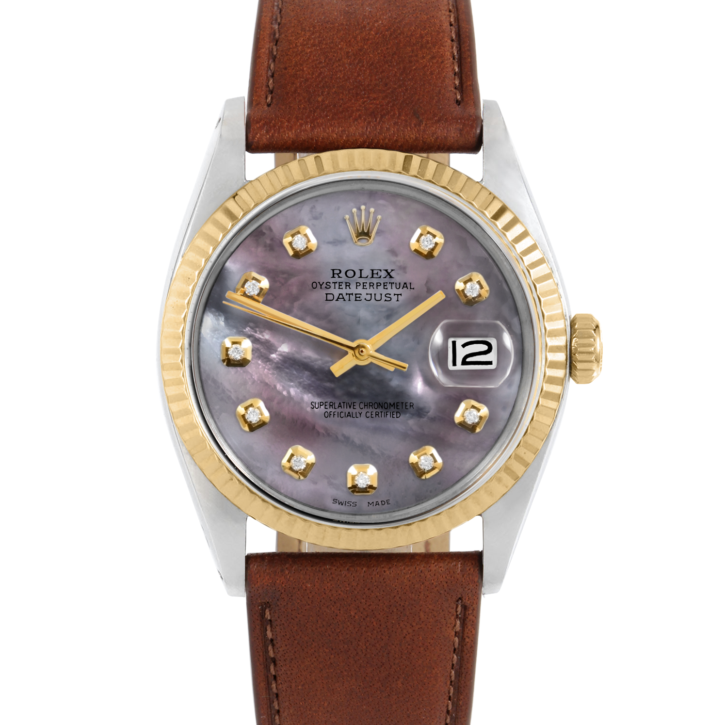 Rolex Datejust 36 1601 Yellow Gold & Steel, Custom Black Mother of Pearl, Fluted Bezel On A Mahogany Calf Leather Strap - Men's Pre-Owned Watch