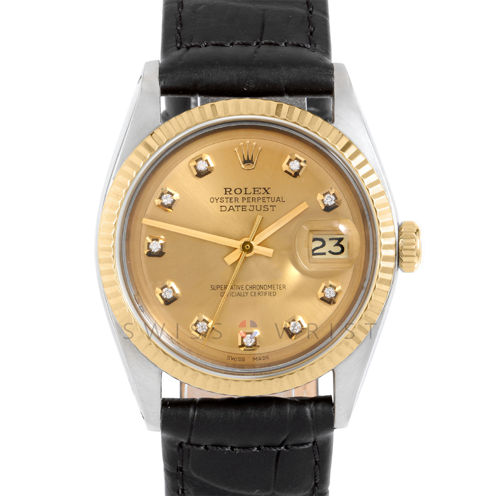 Rolex Datejust 36 mm 1601 Yellow Gold & Steel, Custom Champagne Diamond, Fluted Bezel On A Black Alligator Leather Strap - Men's Pre-Owned Watch