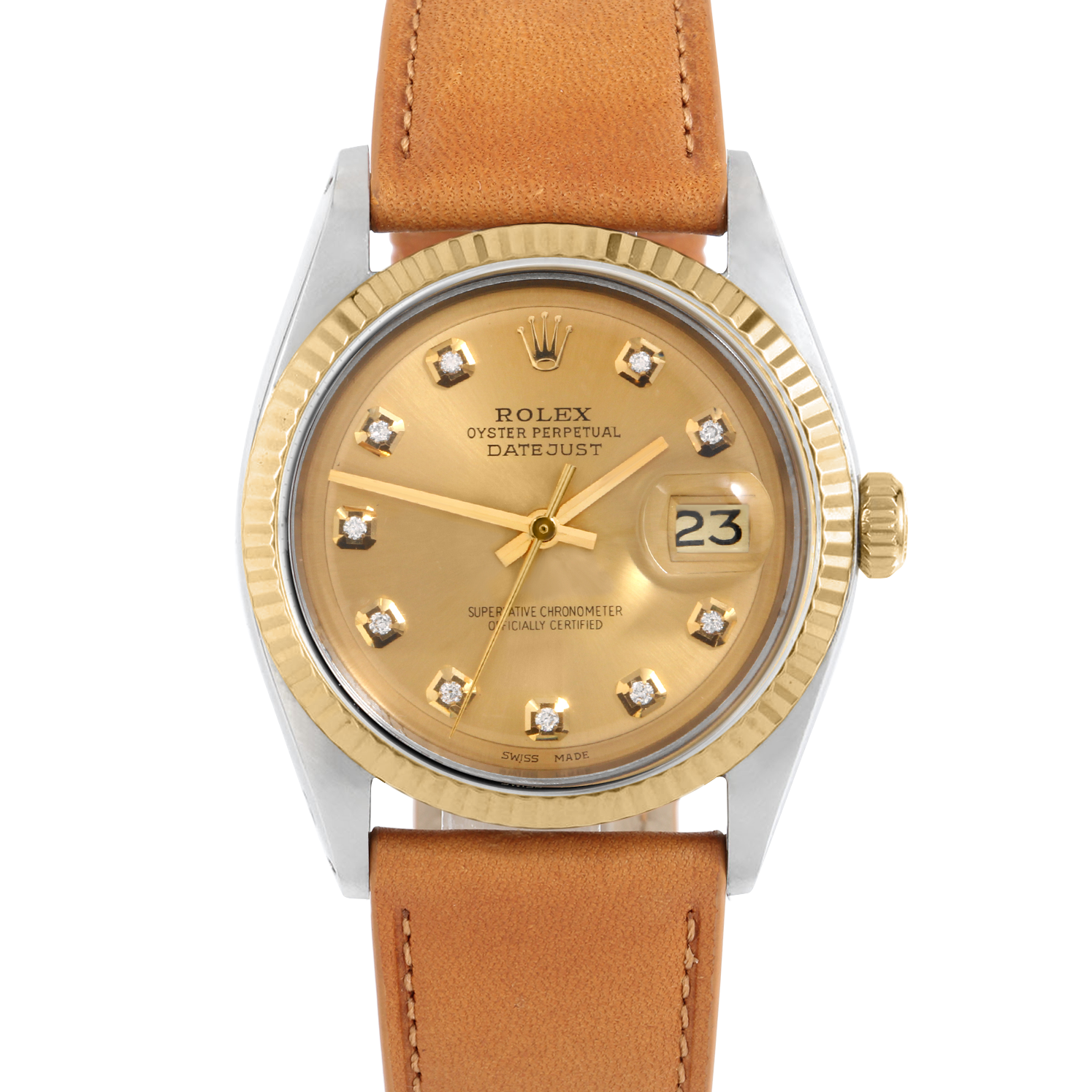 Rolex Datejust 36 1601 Yellow Gold & Stainless Steel, Custom Champagne Diamond, Fluted Bezel On A Tan Calf Leather Strap - Men's Pre-Owned Watch