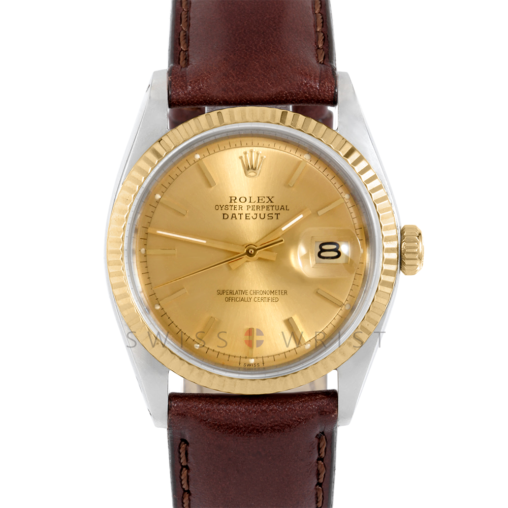 Rolex Datejust 1601 Champagne Stick Dial 18k Yellow Gold