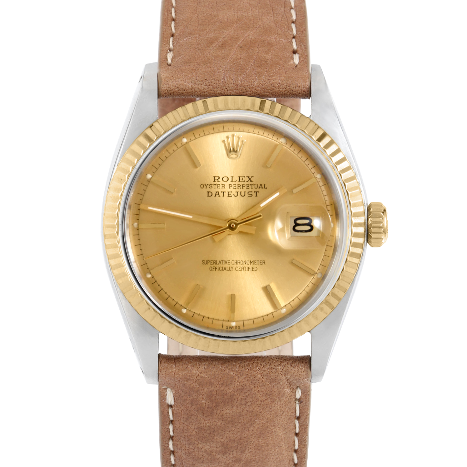 Rolex Datejust 36 1601 Yellow Gold & Steel, Refinished Champagne Stick , Fluted Bezel On A Tan Texas Calf Leather Strap Men's Pre-Owned