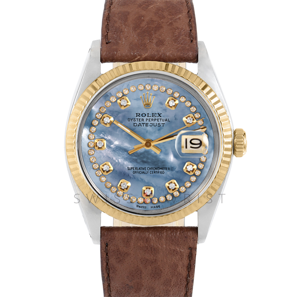 Rolex Datejust 36 1601 Yellow Gold & Steel, Custom Blue MOP String Diamond Dial, Fluted Bezel On A Brown Buffalo Leather Strap - Men's Pre-Owned Watch