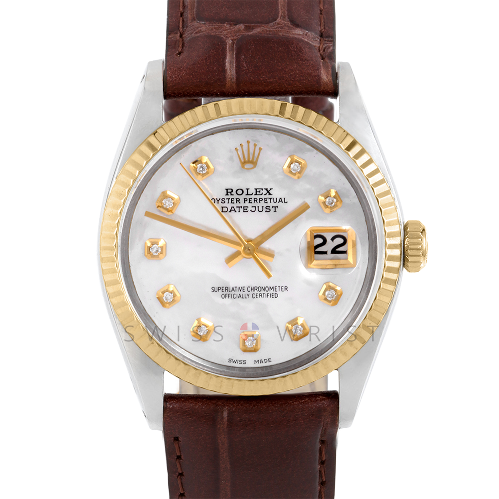 Rolex Datejust 36 mm 1601 Yellow Gold & Steel, Custom Mother of Pearl Diamond, Fluted Bezel On A Brown Alligator Leather Strap - Men's Pre-Owned Watch